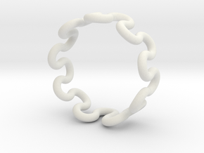 Wave Ring (25mm / 0.98inch inner diameter) in White Natural Versatile Plastic