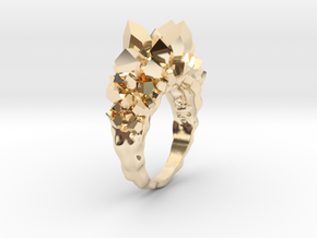 Crystal Ring Size 8,5 in 14K Yellow Gold