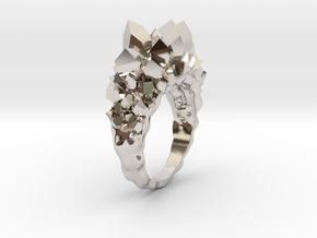 Crystal Ring Size 8,5 in Rhodium Plated Brass