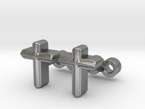 Cross Cufflinks Set in Natural Silver