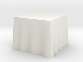 "1:24 Draped Table - 36"" square in White Strong & Flexible"