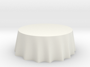 "1:24 Draped Table - 72"" diameter in White Strong & Flexible"