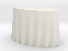 1:48 Draped Table - Small Oval in White Natural Versatile Plastic