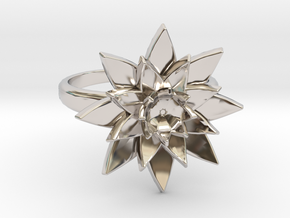 Lotus Ring in Rhodium Plated Brass