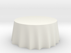 "1:48 Draped Table - 60"" diameter in White Natural Versatile Plastic"