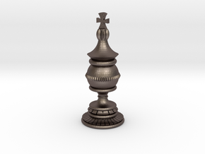 King Chess Piece in Polished Bronzed Silver Steel