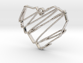 Sketch Heart Pendant in Platinum