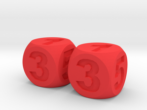 Two Numbered, Dice Standard Size 16mm in Red Processed Versatile Plastic