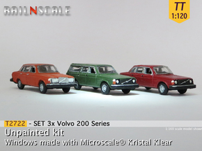 SET 3x Volvo 200 Series (TT 1:120) in Smooth Fine Detail Plastic