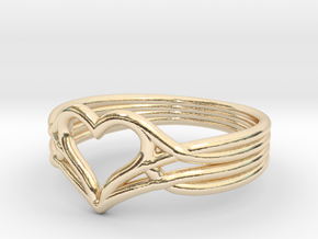 Woven Heart - Smaller (Size 7) in 14k Gold Plated Brass