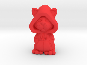 Hoodie Kitty in Red Processed Versatile Plastic