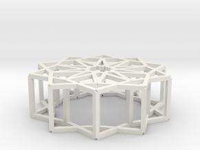 Cube Star Ornament 2.0 in White Natural Versatile Plastic