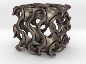 Hollow Gyroid Cube in Polished Bronzed Silver Steel