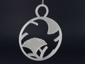 """Ichoedamaru"" Japanese single ornament in White Natural Versatile Plastic"