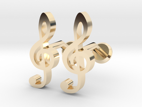 Treble Clef Cufflinks in 14k Gold Plated Brass