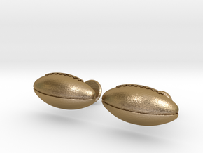 Football Cufflinks in Polished Gold Steel