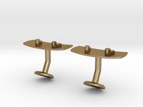 Wakeboard Cufflinks in Polished Gold Steel