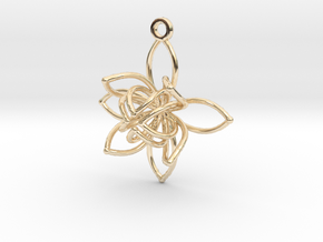 Flower Frame Pendant in 14K Yellow Gold