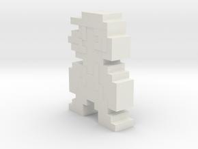 Pixel Mario in White Natural Versatile Plastic