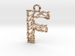 """Sketch """"F"""" Pendant in 14k Rose Gold Plated Brass"""