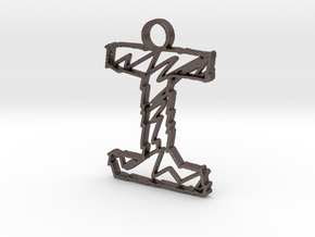 "Sketch ""I"" Pendant in Polished Bronzed Silver Steel"