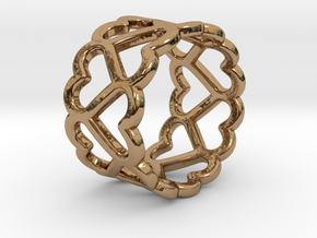 The Ring of Hearts (14 Hearts) Size: Japanese 9 in Polished Brass