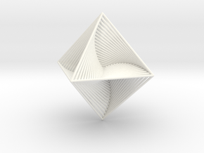 0048 Octahedron Line Design (10 cm) #002 in White Strong & Flexible Polished