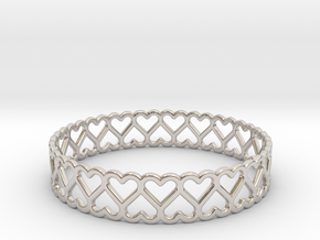 The Bracelet of Hearts in Rhodium Plated Brass