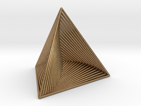 0046 Tetrahedron Line Design (5 cm) #001 in Natural Brass