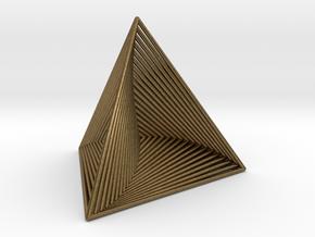 0046 Tetrahedron Line Design (5 cm) #001 in Natural Bronze