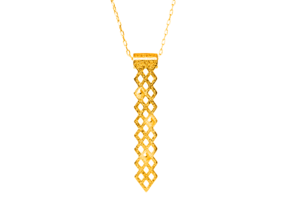 Diamonds Pendant in Polished Gold Steel