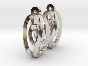 Miniature Aerial Earrings in Rhodium Plated Brass