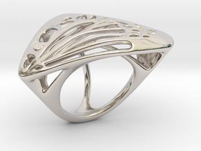 Butterfly Ring [ Size 7 ] in Rhodium Plated Brass