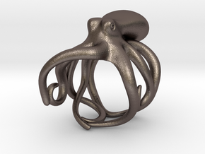 Octopus Ring 16mm in Polished Bronzed Silver Steel