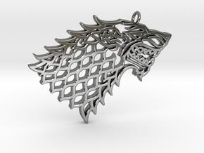 Stark Pendant in Fine Detail Polished Silver