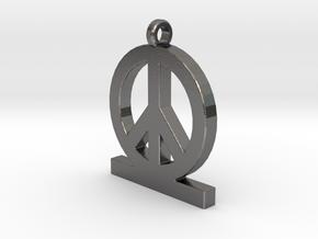 Peace Pendan Man in Polished Nickel Steel