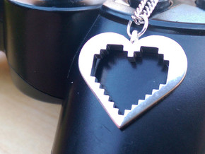 Pixel Heart in Fine Detail Polished Silver