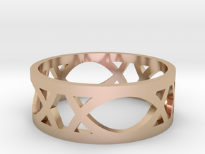 Art Deco Styled Ring  in 14k Rose Gold Plated Brass