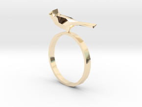 Poly-Bird Ring 5 in 14k Gold Plated Brass