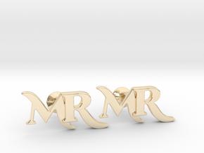 Monogram Cufflinks MR in 14K Yellow Gold