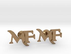Monogram Cufflinks MF in Natural Brass