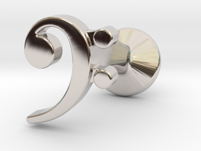 Bass Clef Cufflink (single) in Rhodium Plated Brass