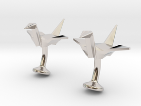 Origami Crane Cufflinks in Rhodium Plated Brass