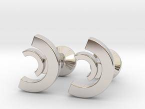 Custom Logo Cufflinks in Rhodium Plated Brass