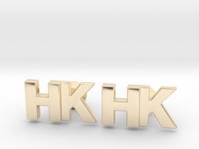 Monogram Cufflinks HK in 14k Gold Plated Brass