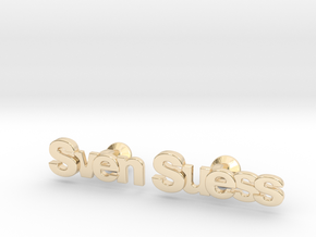 "Custom Name Cufflinks - ""Sven Suess"" in 14k Gold Plated Brass"