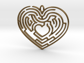 Heart Maze-shaped Pendant 4 in Polished Bronze