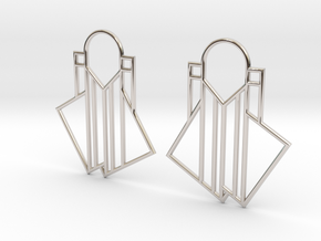 A Little Off-Center Earrings in Rhodium Plated Brass