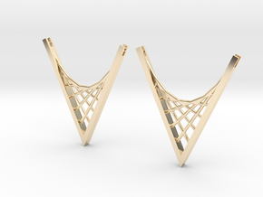 Parabolic Suspension Earrings in 14k Gold Plated Brass