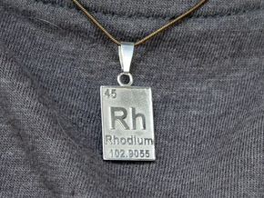 Rhodium Periodic Table Pendant in Rhodium Plated Brass